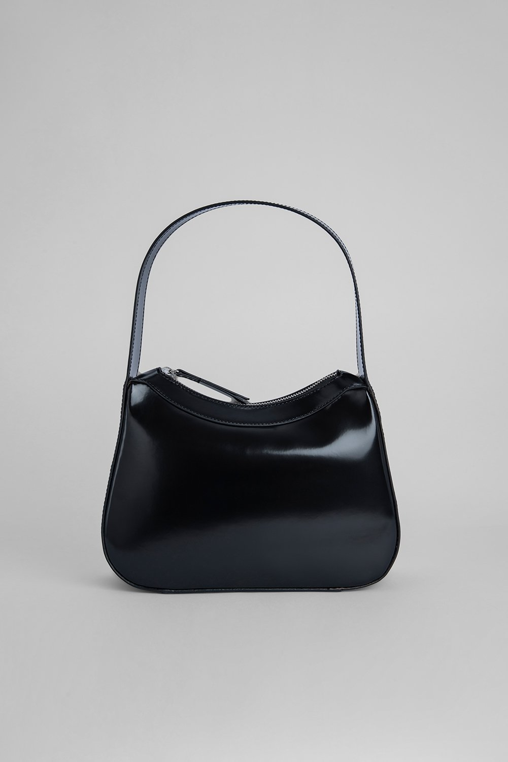 KIKI BLACK SEMI PATENT LEATHER by BY FAR, available on byfar.com for $650 Hailey Baldwin Bags Exact Product