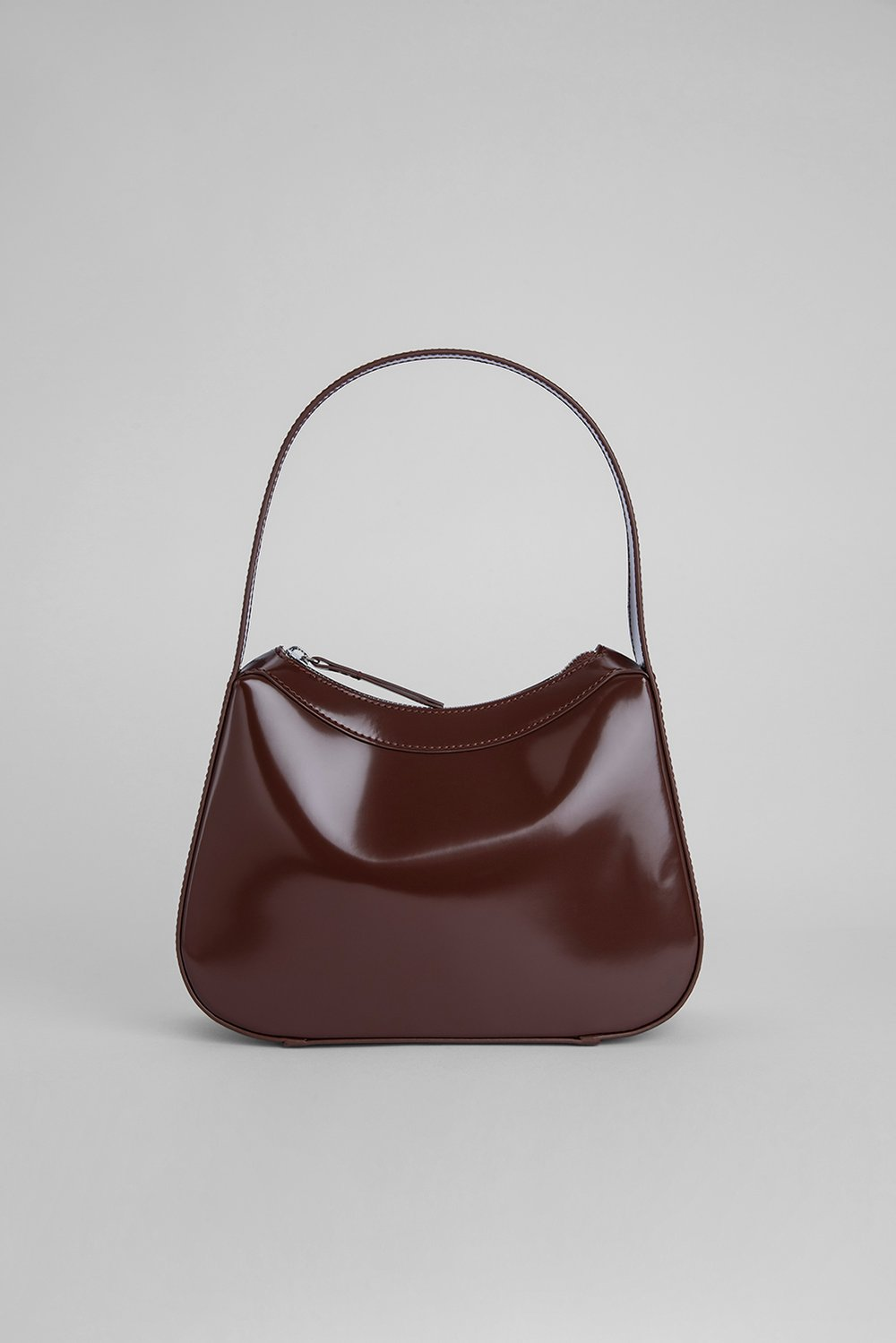 KIKI DARK BROWN SEMI PATENT LEATHER by BY FAR, available on byfar.com for $395 Hailey Baldwin Bags Exact Product
