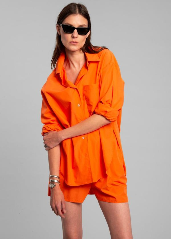 LUI ORGANIC COTTON SHIRT - TANGERINE by The Frankie Shop, available on thefrankieshop.com for $185 Hailey Baldwin Outerwear Exact Product