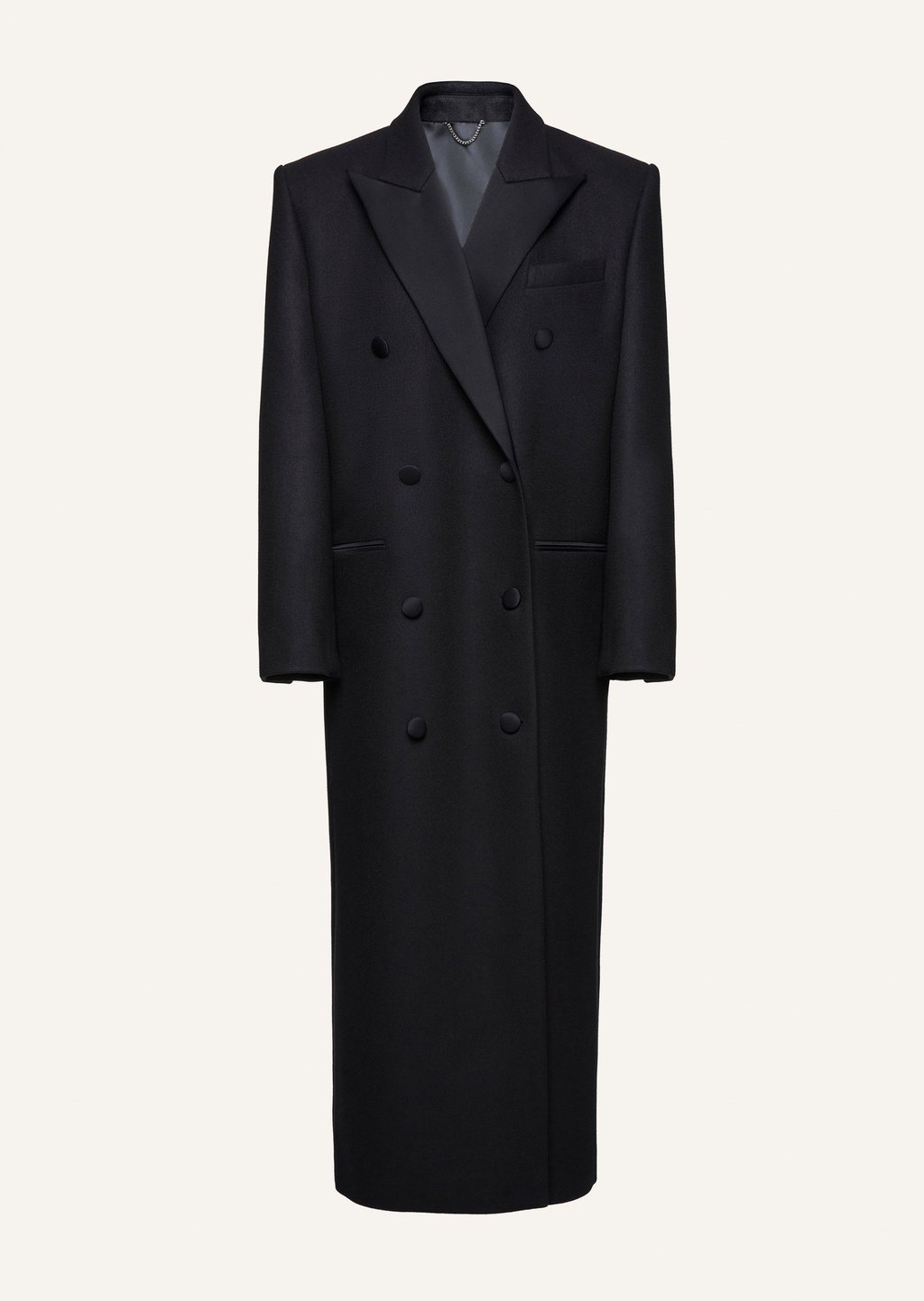 Long classic wool coat in black by Magda Butrym, available on magdabutrym.com for EUR2825 Hailey Baldwin Outerwear Exact Product