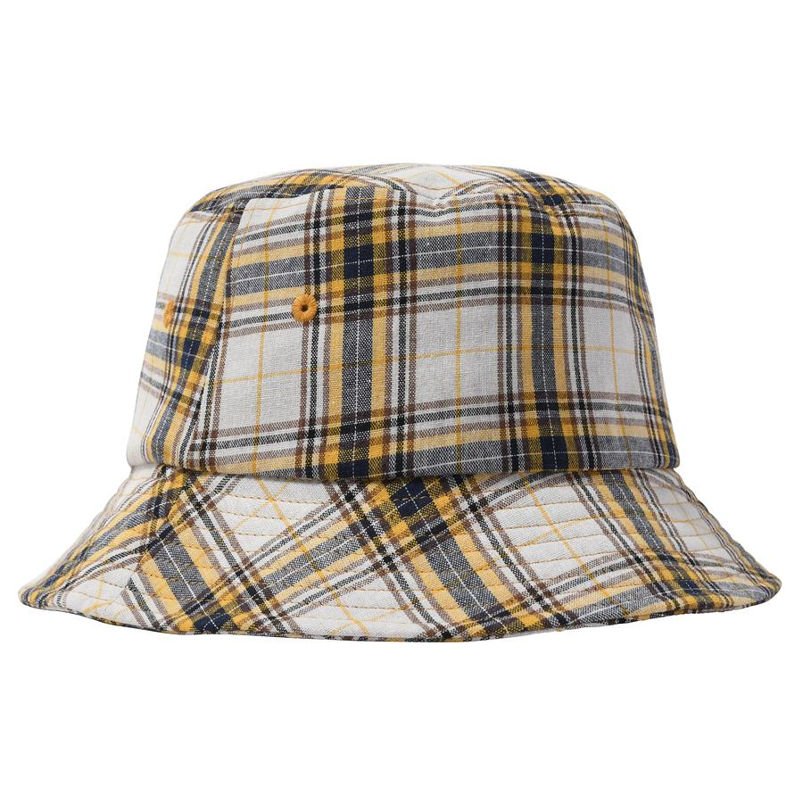 MADRAS PLAID BIG LOGO BUCKET by Stussy, available on stussy.com for $50 Hailey Baldwin Hat Exact Product