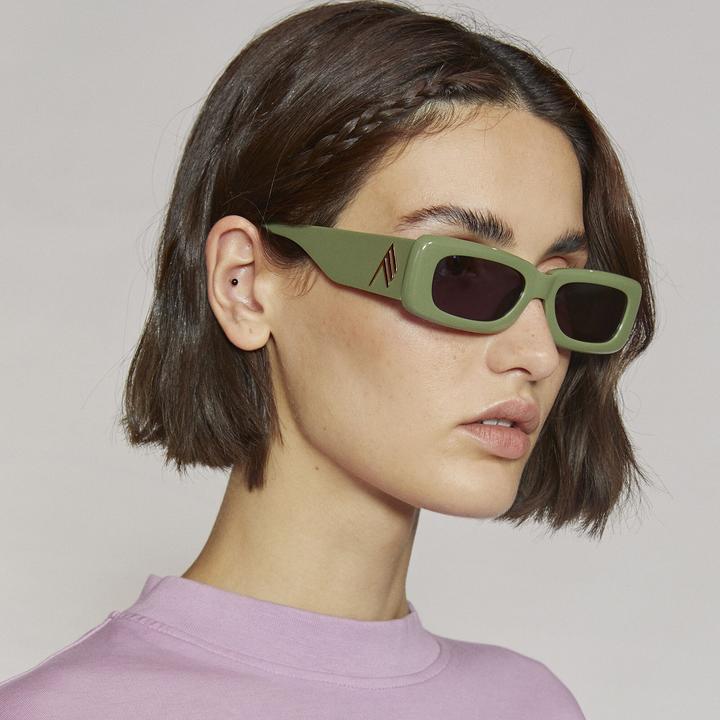 MINI MARFA IN GREEN by THE ATTICO, available on lindafarrow.com for $250 Hailey Baldwin Sunglasses Exact Product