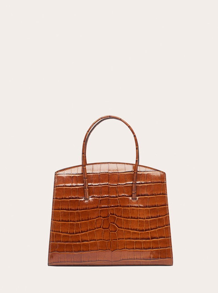 MINIMAL MINI TOTE BROWN CROC-EMBOSSED by Little Liffner, available on littleliffner.com for EUR330 Hailey Baldwin Bags Exact Product