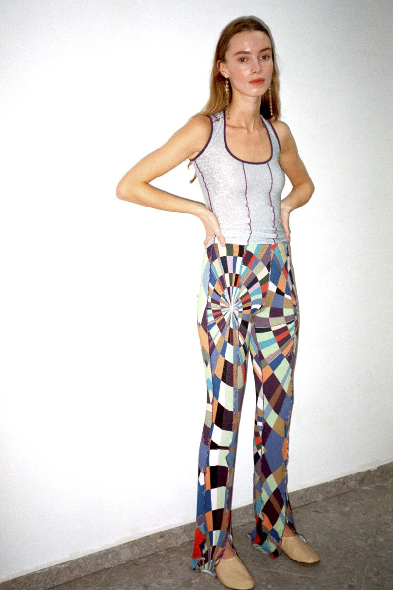 MULT - Front slit knit pants with colored stitch detail by Siedres, available on siedres.com Hailey Baldwin Pants Exact Product