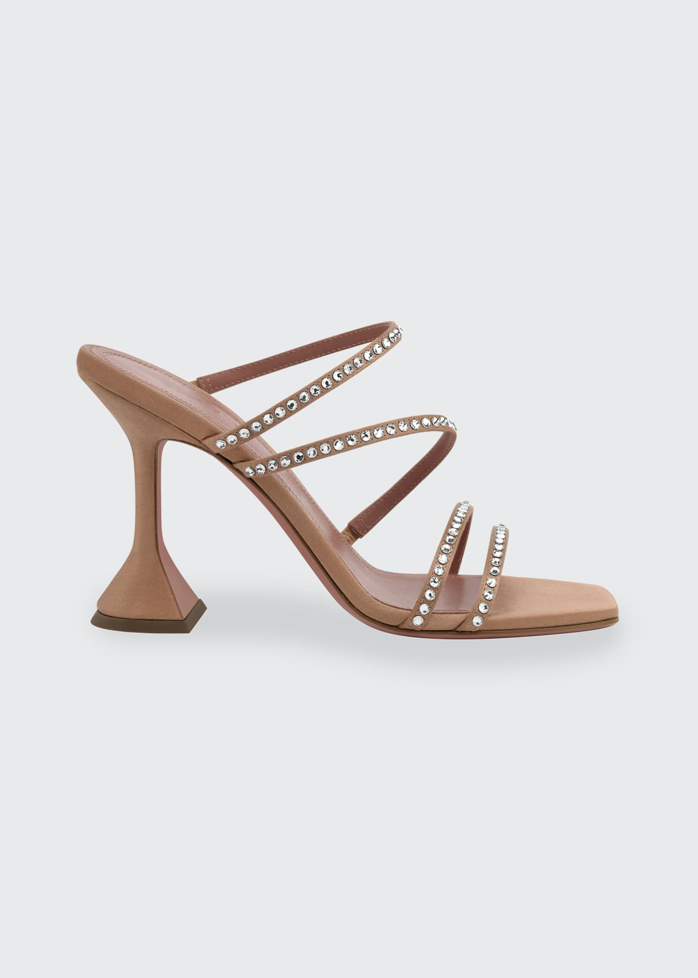 Naima Crystal Silk Slide Sandals by Amina Muaddi, available on bergdorfgoodman.com for $970 Hailey Baldwin Shoes Exact Product