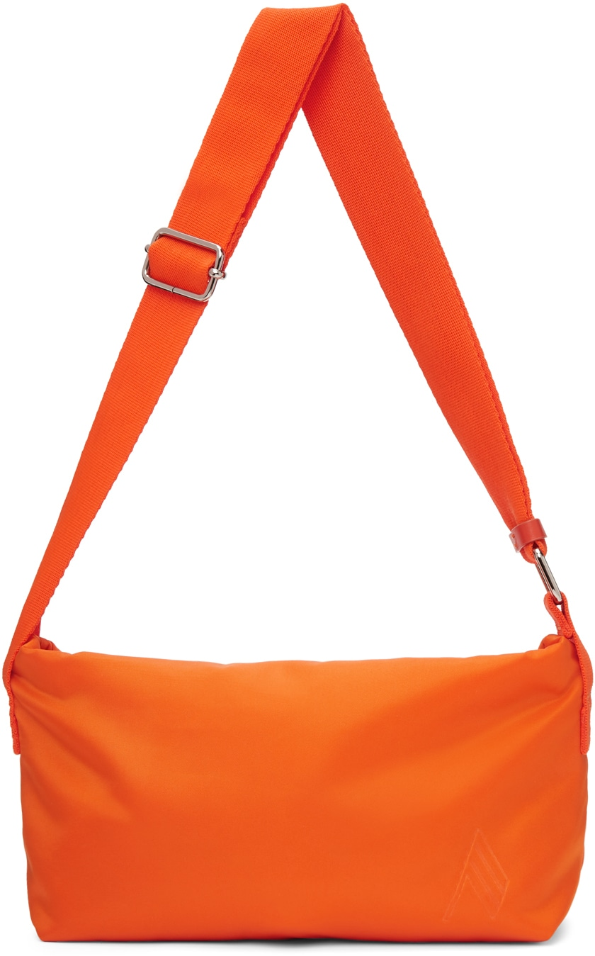 Orange Medium Satin Trousse Bag by The Attico, available on ssense.com for $475 Hailey Baldwin Bags Exact Product