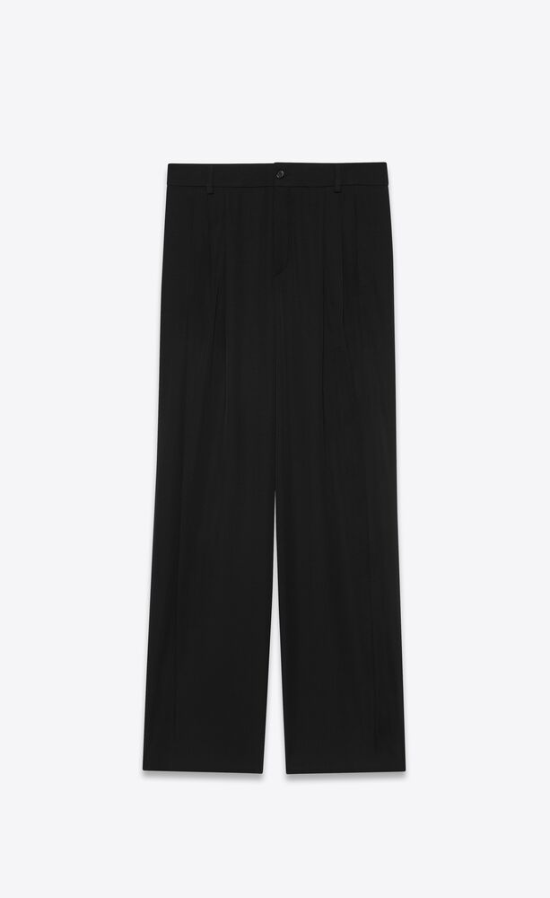 PLEATED PANTS IN GRAIN DE POUDRE by SAINT LAURENT, available on ysl.com for $1290 Hailey Baldwin Pants Exact Product