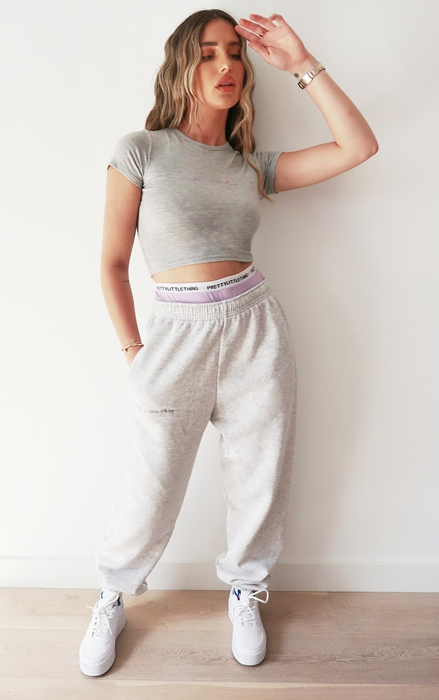 PRETTYLITTLETHING Ash Grey Embroidered Joggers by Pretty Little Thing, available on prettylittlething.com for £20 Hailey Baldwin Pants SIMILAR PRODUCT