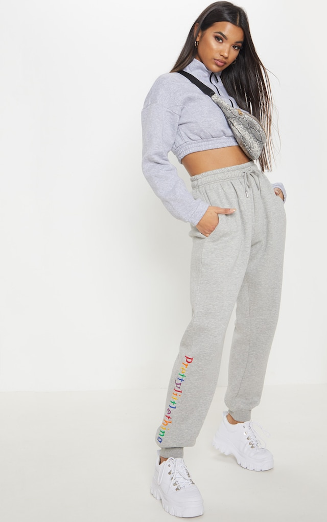PRETTYLITTLETHING Grey Multi Embroidered Joggers by Pretty Little Thing, available on prettylittlething.com for £18 Hailey Baldwin Pants SIMILAR PRODUCT