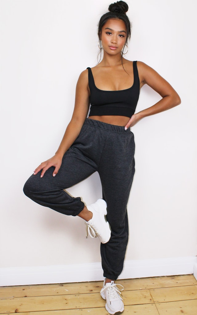Petite Basic Charcoal Cuffed Hem Joggers by Pretty Little Thing, available on prettylittlething.com for $10 Hailey Baldwin Pants SIMILAR PRODUCT