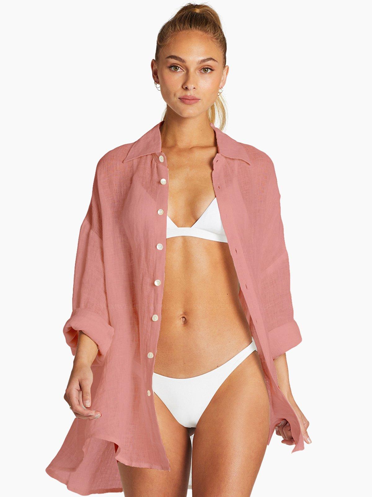 Playa Shirt Dress by Vitamin A, available on swimwearworld.com for $125 Hailey Baldwin Outerwear Exact Product