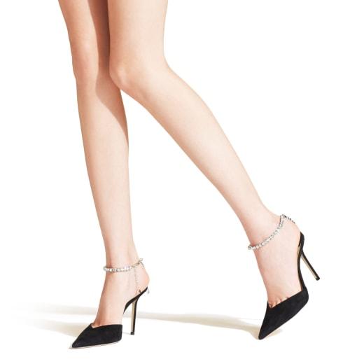 SAEDA 100 by Jimmy Choo, available on jimmychoo.com for $850 Hailey Baldwin Shoes Exact Product