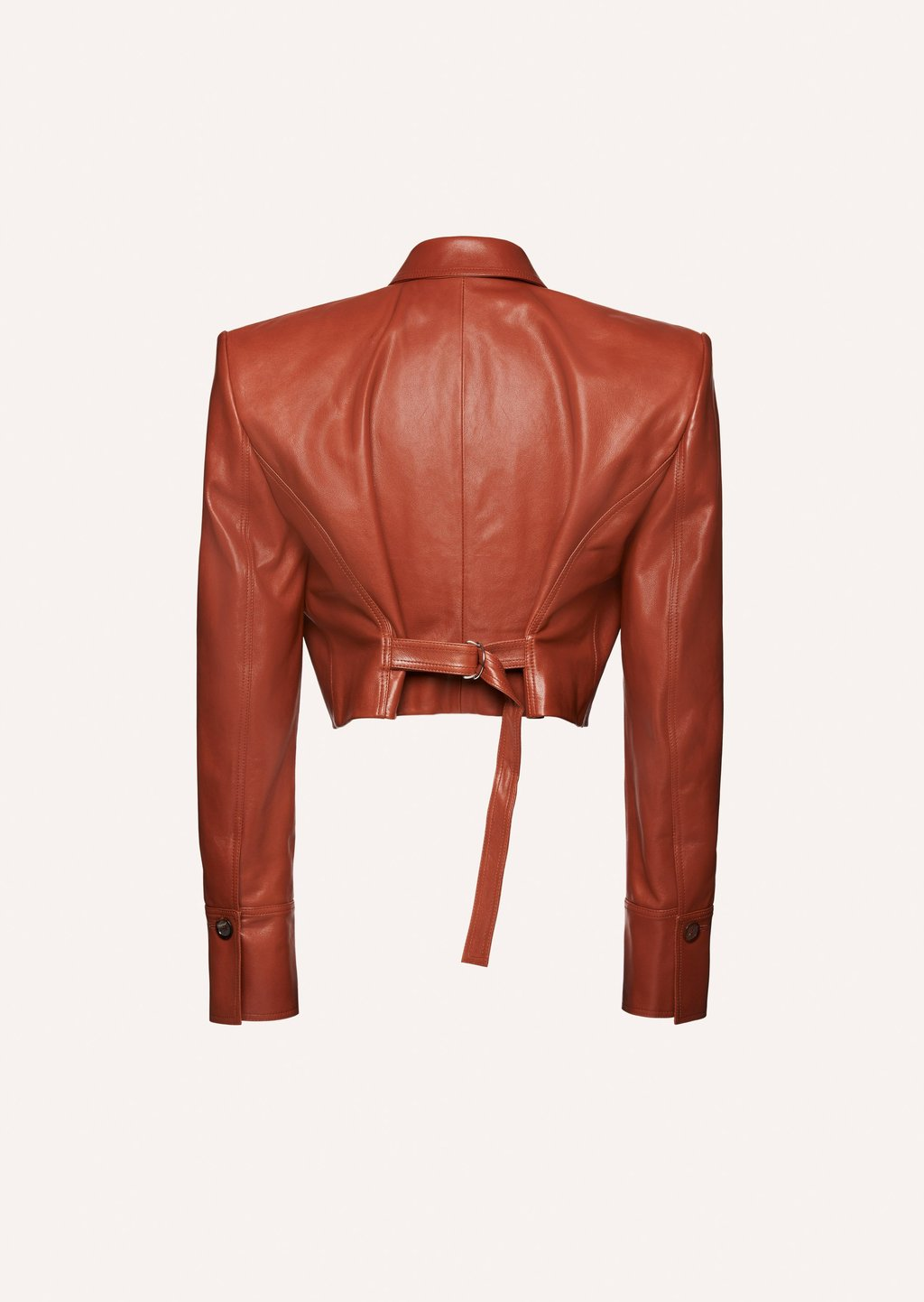 Sharp shoulder cropped leather jacket in brown by Magda Butrym, available on magdabutrym.com for EUR1860 Hailey Baldwin Outerwear Exact Product