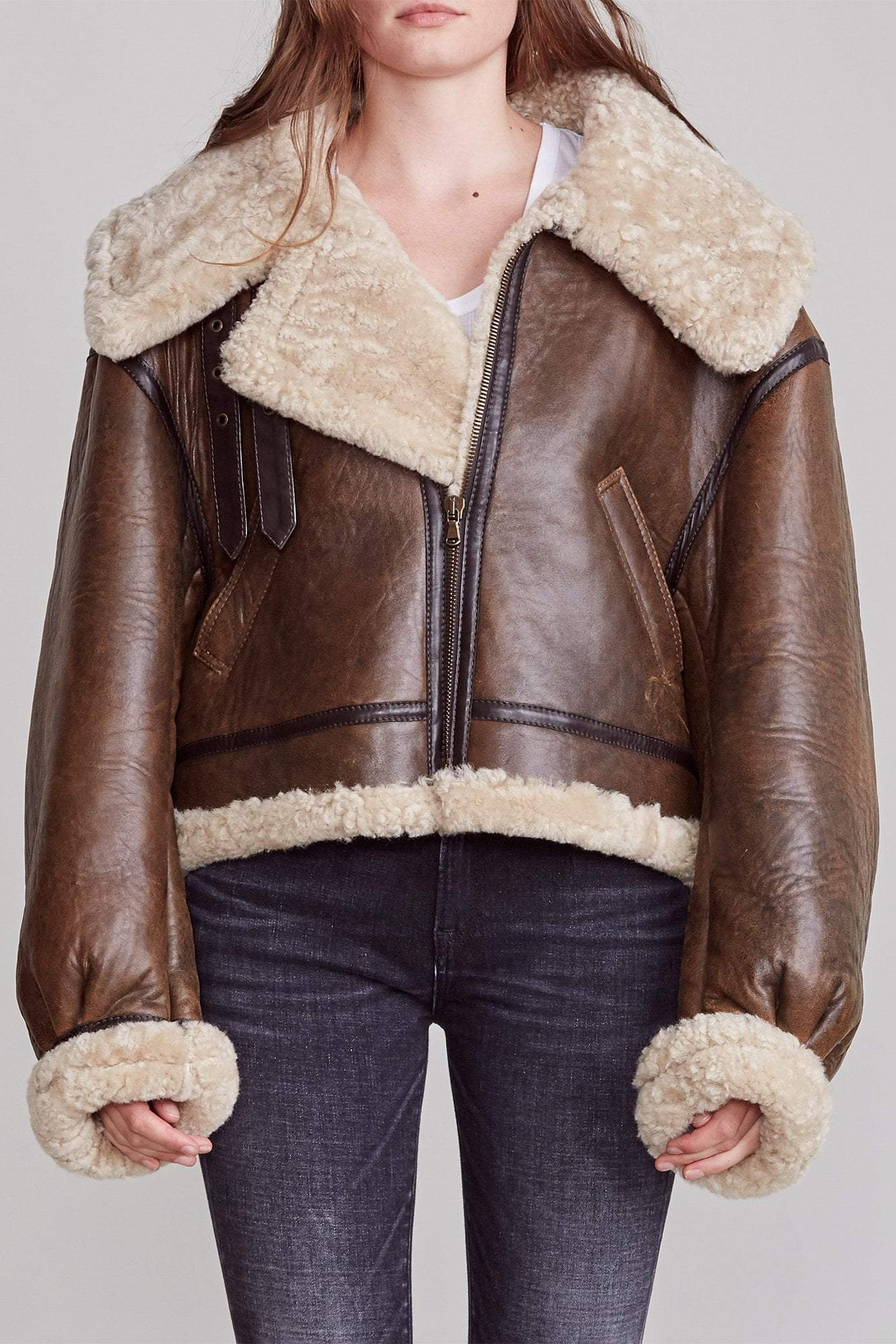 Sherpa Aviator Jacket by R13, available on r13denim.com for $3600 Hailey Baldwin Outerwear Exact Product