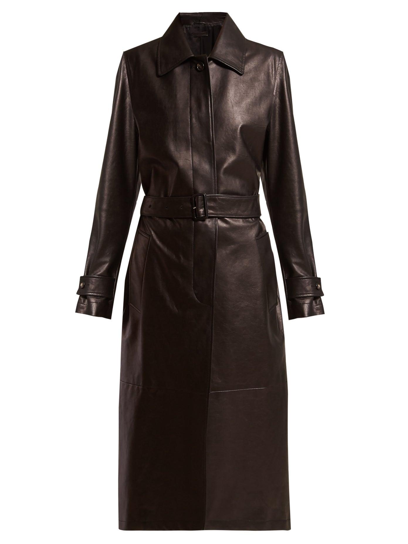 Single Breasted Leather Coat by Bottega Veneta, available on matchesfashion.com for $5168 Hailey Baldwin Outerwear Exact Product