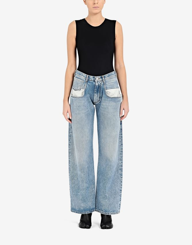 Straight jeans with contrasted pockets by Maison Margiela, available on maisonmargiela.com for EUR510 Hailey Baldwin Pants Exact Product