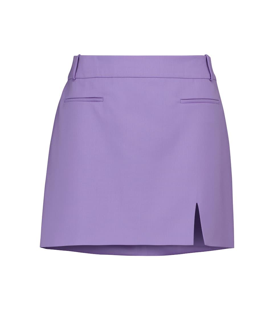Stretch-wool gabardine miniskirt by THE ATTICO, available on mytheresa.com for $490 Hailey Baldwin Skirt Exact Product