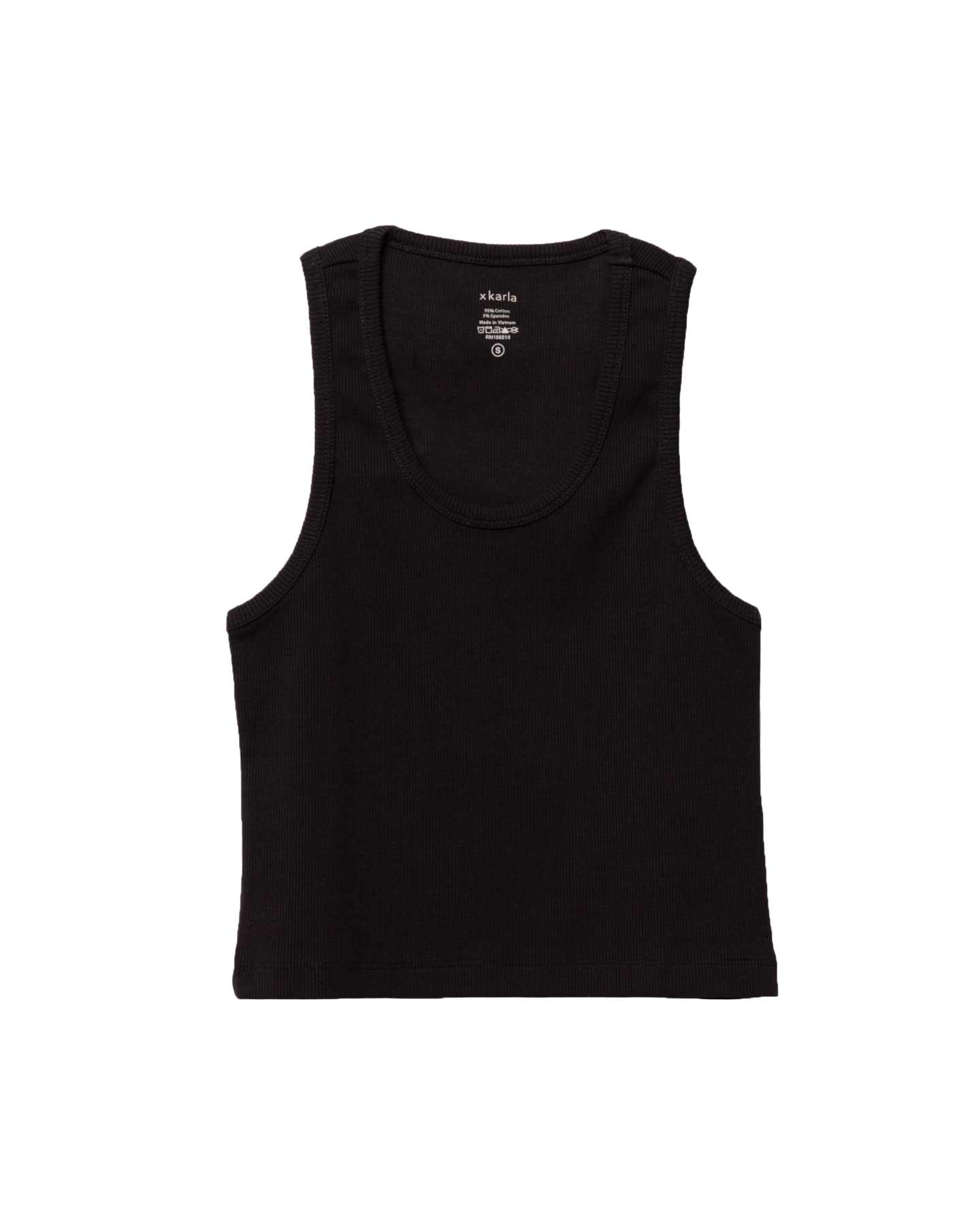 THE CROP TANK IN BLACK by Hanes X Karla, available on xkarla.com for $54 Hailey Baldwin Top Exact Product