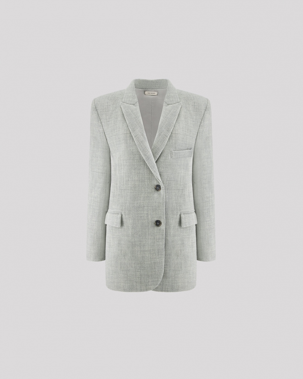 Tailored oversized blazer in grey by GREENOCK IN GREY, available on themannei.com for $1.4 Hailey Baldwin Outerwear Exact Product