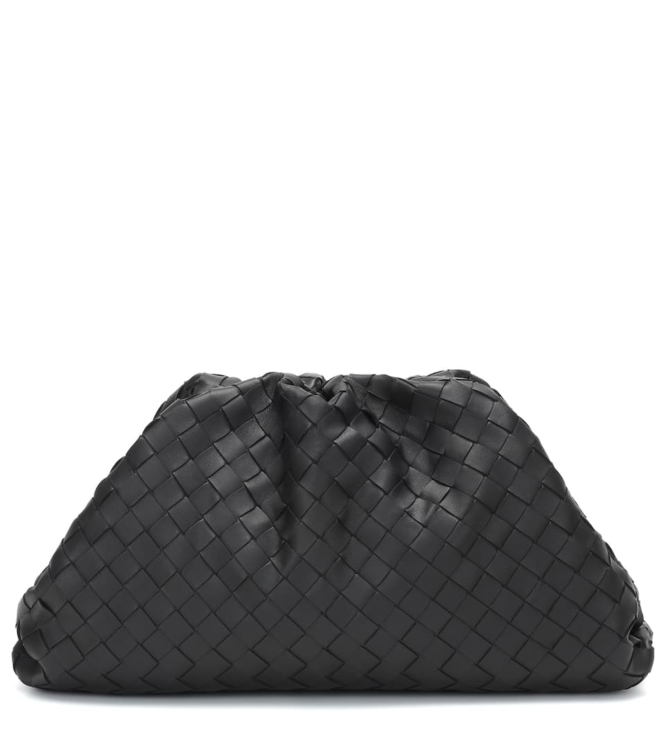 The Pouch intrecciato leather clutch by BOTTEGA VENETA, available on mytheresa.com for $2890 Hailey Baldwin Bags Exact Product