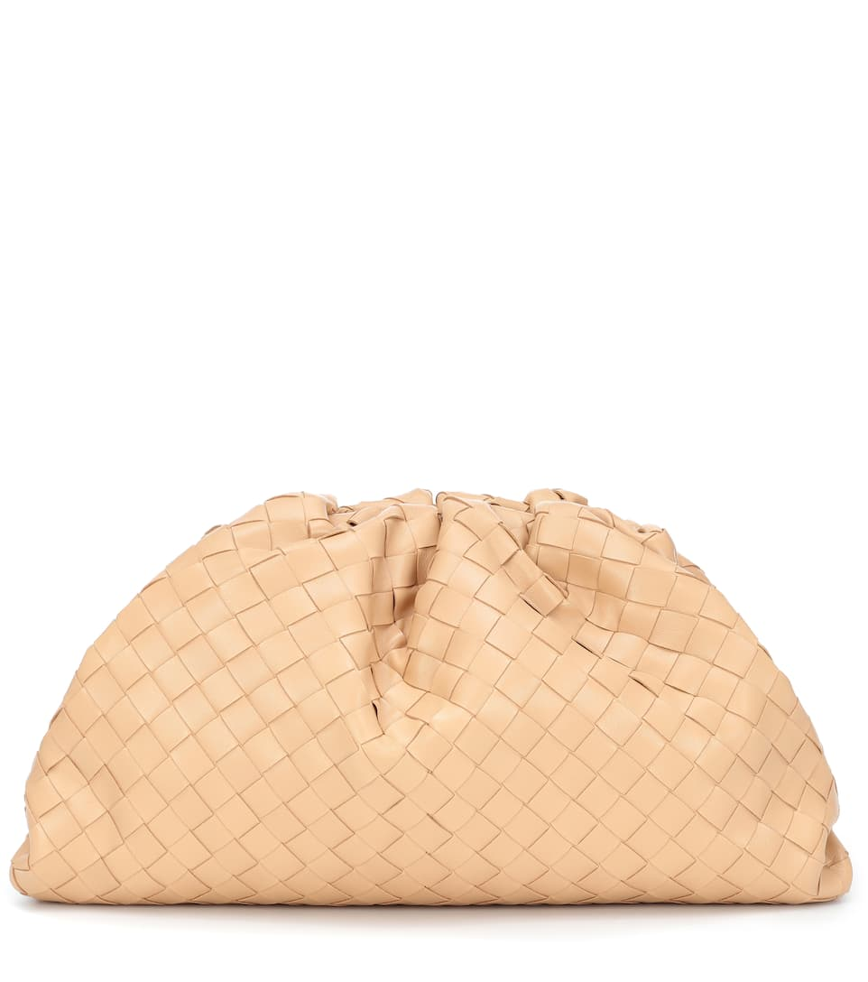 The Pouch intrecciato leather clutch by Bottega Veneta, available on mytheresa.com for $3200 Hailey Baldwin Bags Exact Product