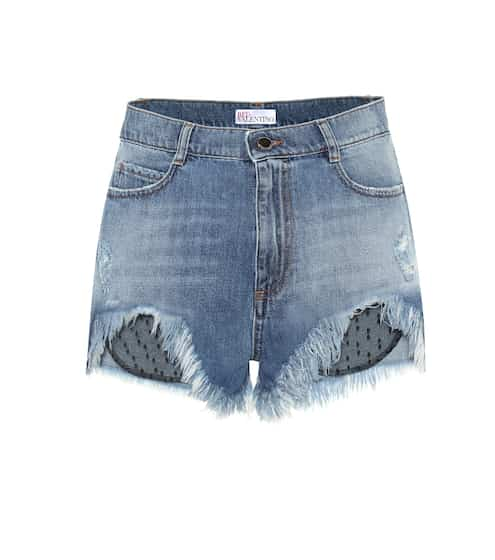 Tulle-trimmed denim shorts by REDValentino, available on mytheresa.com for EUR306 Hailey Baldwin Shorts SIMILAR PRODUCT