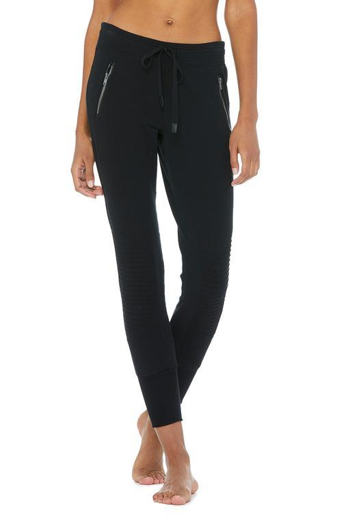Urban Moto Sweatpant - Black by Alo Yoga, available on aloyoga.com for $98 Hailey Baldwin Pants SIMILAR PRODUCT