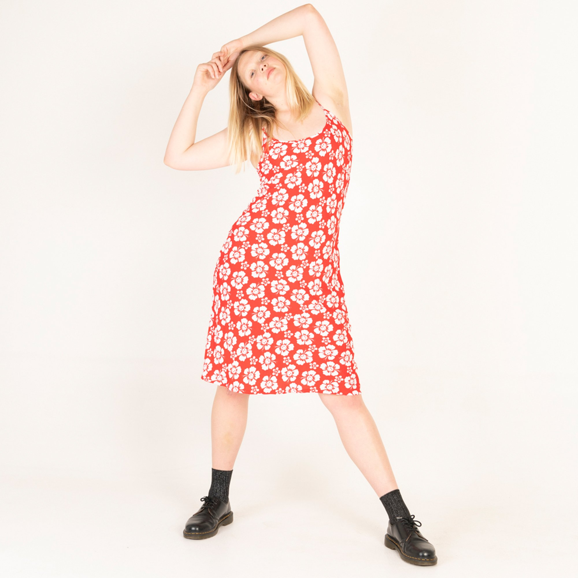 VACATION SLIP DRESS - HAPPY HAWAII - RED by Holiday The Label, available on holidaythelabel.com for AUD215 Hailey Baldwin Dress Exact Product