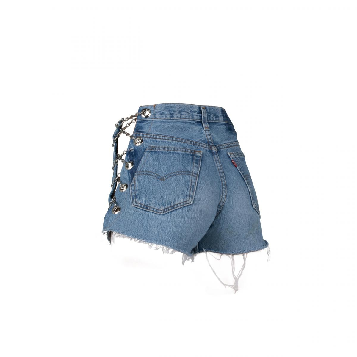Vintage Blue Chain Shorts by EB Denim, available on ebdenim.com for $215 Hailey Baldwin Shorts SIMILAR PRODUCT