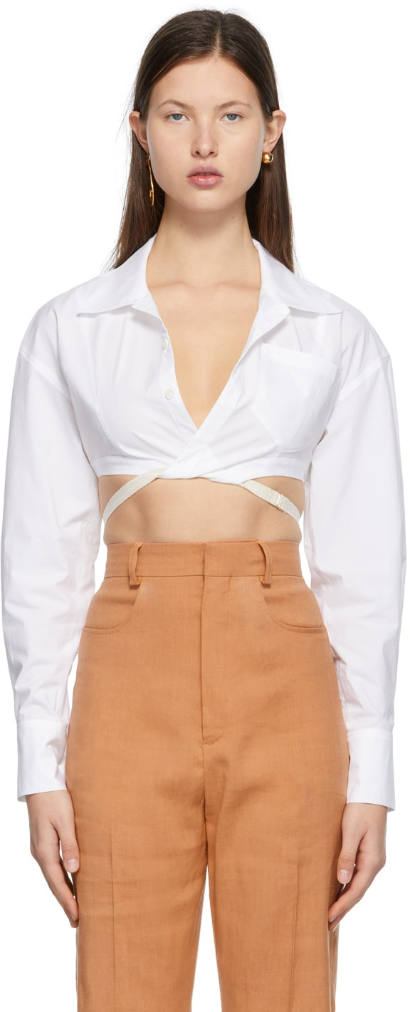 White 'La Chemise Laurier' Shirt by Jacquemus, available on ssense.com for $420 Hailey Baldwin Top Exact Product