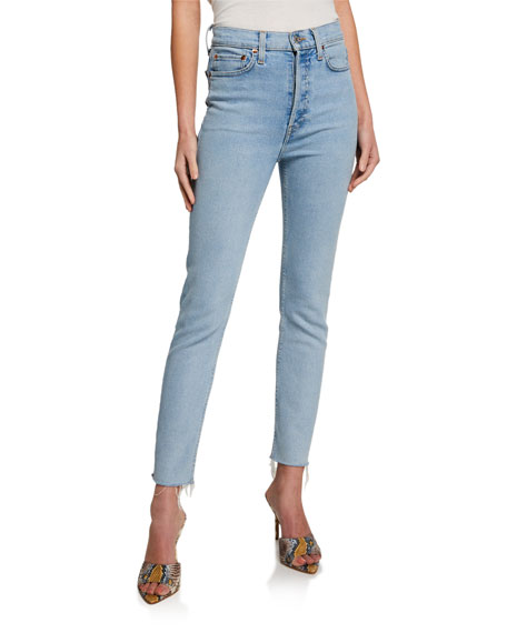 90s High-Rise Ankle Crop Jeans by Re Done, available on neimanmarcus.com for AUD231 Kaia Gerber Pants Exact Product
