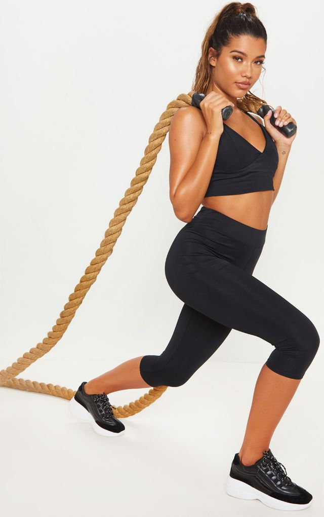 Black Basic Cropped Gym Legging by Pretty Little Thing, available on prettylittlething.com for $11 Kaia Gerber Pants SIMILAR PRODUCT