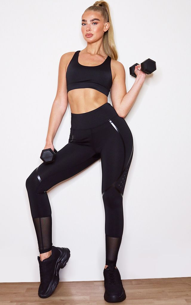 Black Shiny Detailing High Waist Airtex Gym... by Pretty Little Thing, available on prettylittlething.com for $18 Kaia Gerber Pants SIMILAR PRODUCT