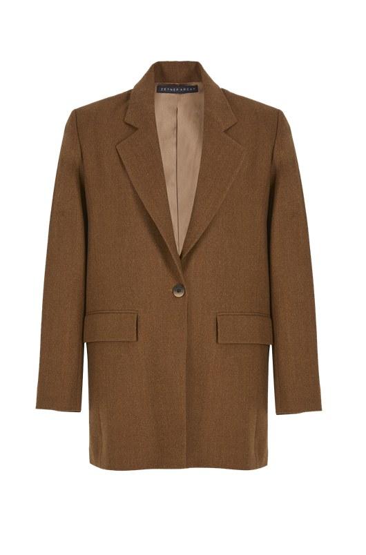Boyfriend Wool Jacket Taba by Zeynep-Arcay, available on zeyneparcay.com for $2100 Kaia Gerber Outerwear Exact Product