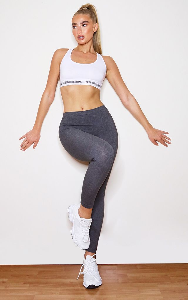 Charcoal Basic Gym Leggings by Pretty Little Thing, available on prettylittlething.com for $7 Kaia Gerber Pants SIMILAR PRODUCT