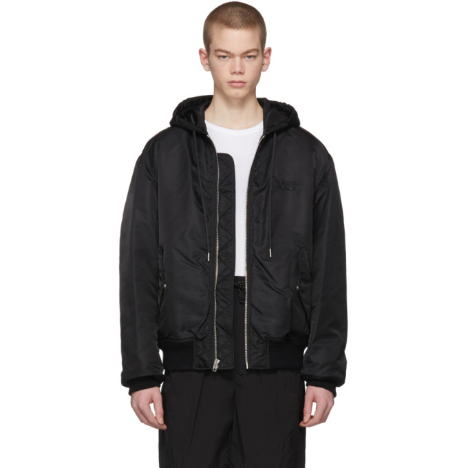 Classic Black Hooded Bomber Jacket by Alexander Wang, available on thesportscholar.com for $262.65 Kaia Gerber Outerwear Exact Product