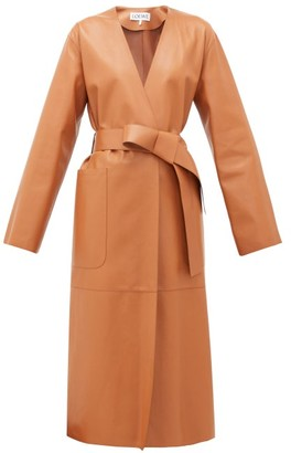 Collarless Belted Leather Coat - Womens - Tan by Loewe, available on shopstyle.com for $4990 Kaia Gerber Outerwear SIMILAR PRODUCT
