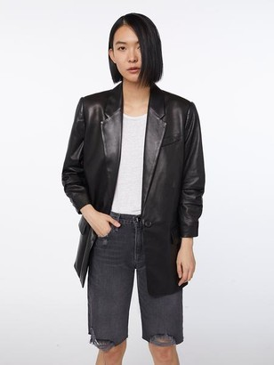 Denim Imaan x Leather Darted Blazer by Frame, available on shopstyle.com for $1195 Kaia Gerber Outerwear Exact Product