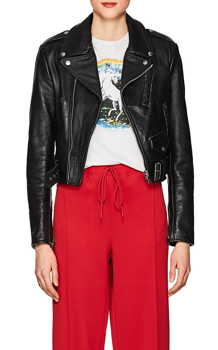 Distressed Leather Moto Jacket by Re Done, available on barneyswarehouse.com for $700 Kaia Gerber Outerwear Exact Product