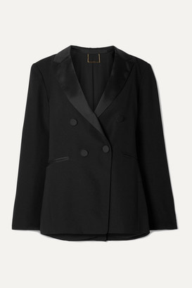 Double-breasted Satin-trimmed Crepe Blazer - Black by Frame, available on shopstyle.com for $625 Kaia Gerber Outerwear SIMILAR PRODUCT