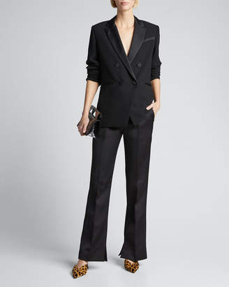 Double Breasted Tux Satin Blazer by Frame, available on shopstyle.com for $375 Kaia Gerber Outerwear SIMILAR PRODUCT