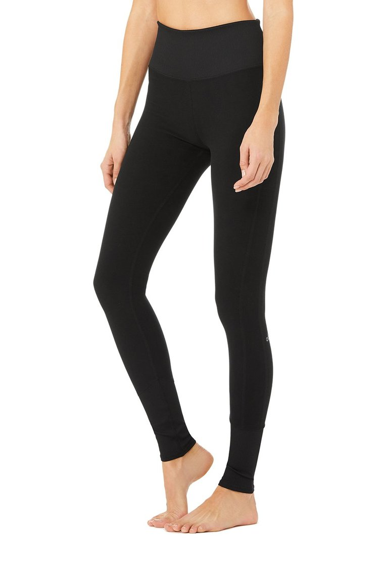 HIGH-WAIST ALOSOFT LOUNGE LEGGING by Alo Yoga for $98 Kaia Gerber Pants Exact Product