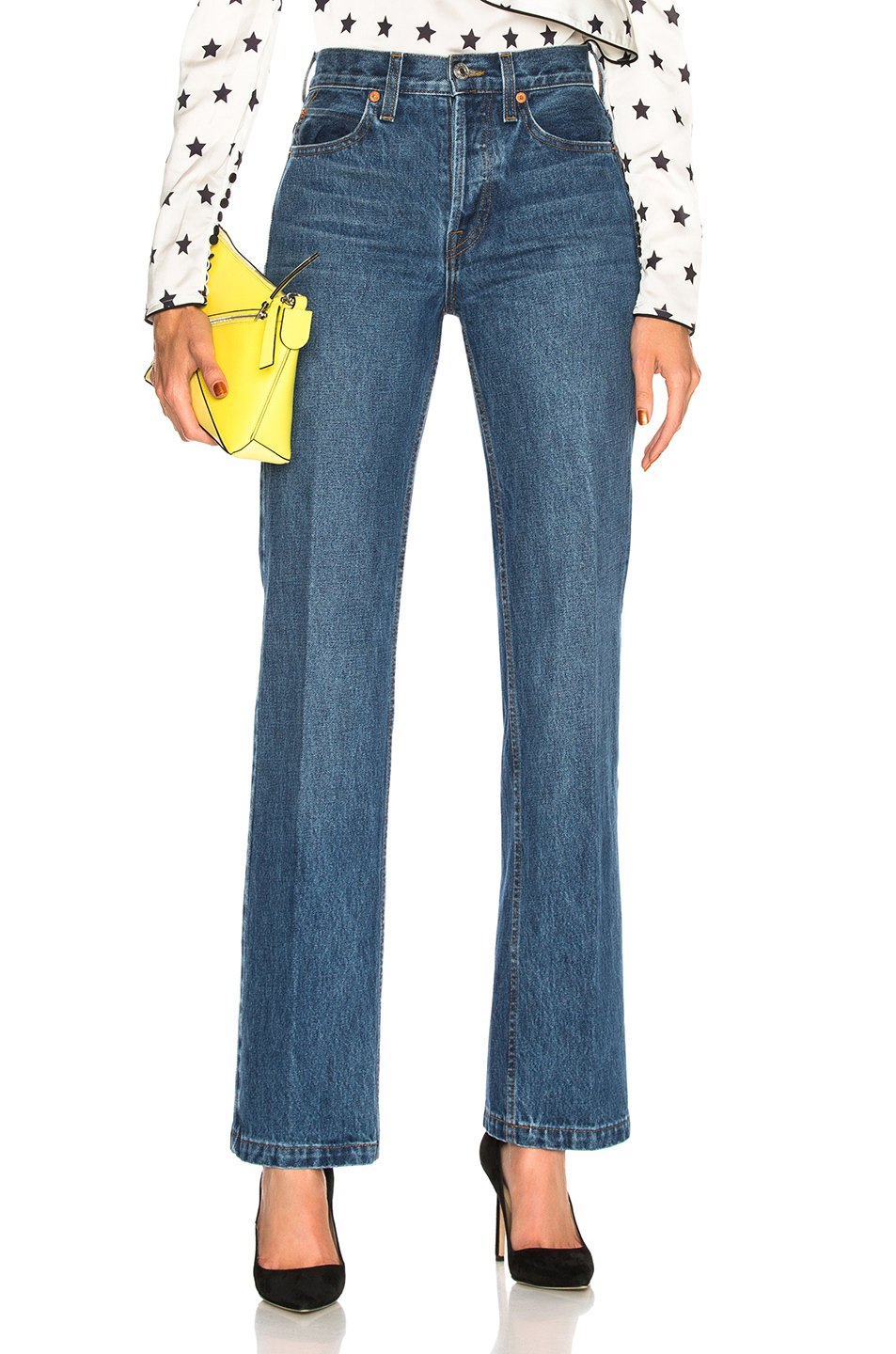 High Rise Medium Flare Jeans by Re/Done, available on fwrd.com Kaia Gerber Pants Exact Product