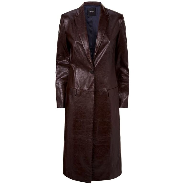 Leather Longline Jacket by Theory, available on saksfifthavenue.com for $1137 Kaia Gerber Outerwear Exact Product