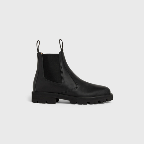 MARGARET CHELSEA BOOT IN CALFSKIN BLACK by Celine, available on celine.com Kaia Gerber Shoes Exact Product
