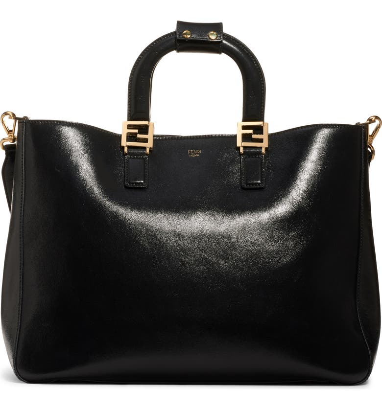 Medium FF Top Handle Leather Tote by Fendi, available on nordstrom.com Kaia Gerber Bags Exact Product