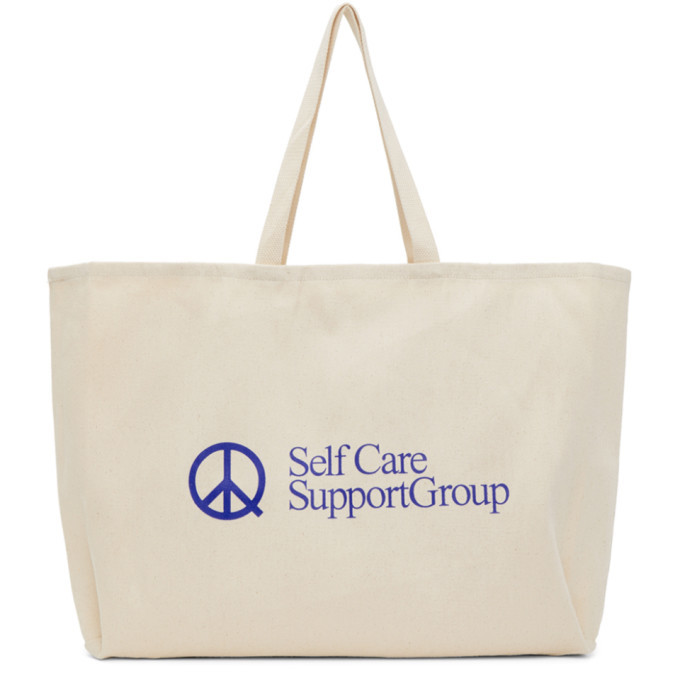 Museum of Peace and Quiet Beige SCSG Tote by Museum of Peace and Quiet, available on clothbase.com for $55 Kaia Gerber Bags Exact Product