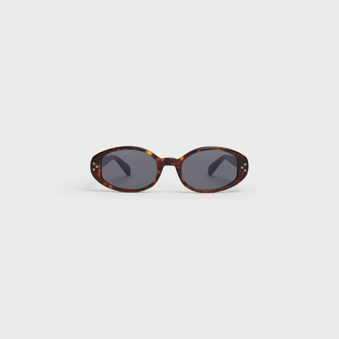 OVAL S212 SUNGLASSES IN ACETATE DARK HAVANA by Celine, available on celine.com for $420 Kaia Gerber Sunglasses Exact Product