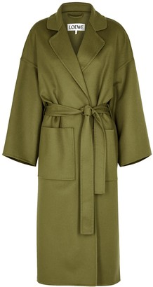 Olive belted wool and cashmere-blend coat by Loewe, available on shopstyle.com for $1900 Kaia Gerber Outerwear SIMILAR PRODUCT
