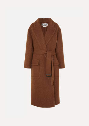 Oversized Belted Felt Coat - Brown by Loewe, available on shopstyle.com for $1494 Kaia Gerber Outerwear SIMILAR PRODUCT